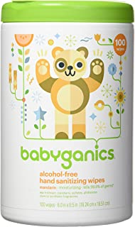 Babyganics Alcohol-Free Hand Sanitizer Wipes, Mandarin, 100 ct (Pack of 2), Packaging May Vary (Total 200 wipes)