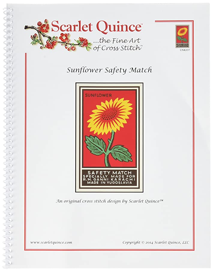 Scarlet Quince UNK037 Sunflower Safety Match Counted Cross Stitch Chart, Regular Size Symbols