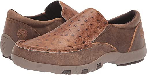 Tan Embossed Ostrich Upper
