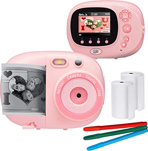 """high quality Sunny & Fun Crafty Cam   Best Gift for Boys Girls   Kids Instant Print Camera & Video Camcorder Bundle with 2.4"""" HD Screen, new arrival discount Selfie Mirror, Filters for Hours of Fun & Crafts- Pink online sale"""