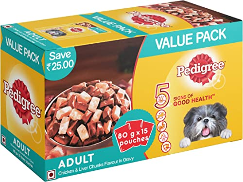 Pedigree Adult Wet Valentines Gift Dog Food, Chicken and Liver Chunks in Gravy, 15 Pouches (15x80g) product image