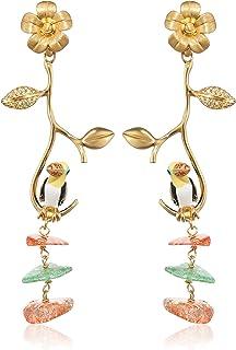 Misis Donna-Orecchini Jungle Tiara Argento 925 Zirconi colorati cracked quartz smalto 6.5 cm - OR08339