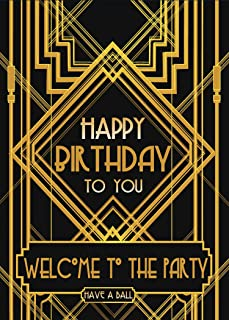 LYLYCTY 5X7 Great Gatsby Happy Birthday Party Photo Backdrop Adult Children Decoration Background LYLX733