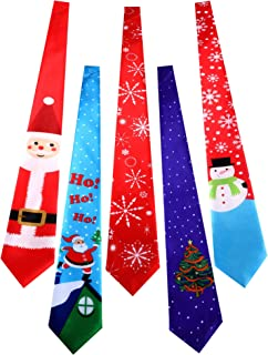 Jovitec 5 Pieces Christmas Tie Men Boys Holiday Necktie for Christmas Party Costume Accessories