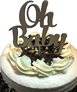 OH BABY Shower Cake Topper - Celebration Cake Decorating Pick Supplies - Wooden Decor Party Cake Toppers - Unisex Brown Wood Boy Girl Decorations by Jolly Jon