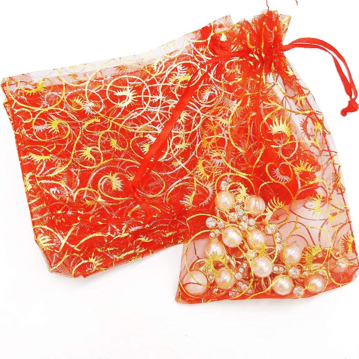 Outdoorfly 50PCS Organza Bags 4x6 Inches Drawstring Gift Bags Jewelry Pouches Drawstring Bags Candy Chocolate Wedding Party Christmas Baby Favor Prensent Bags(Red Eyelash)