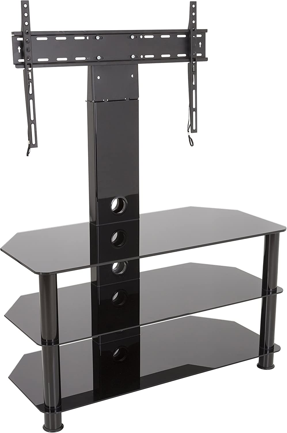 AVF SDCL900BB-A Stand with TV Mount for TVs up to 60-inch, Black Glass, Black Legs