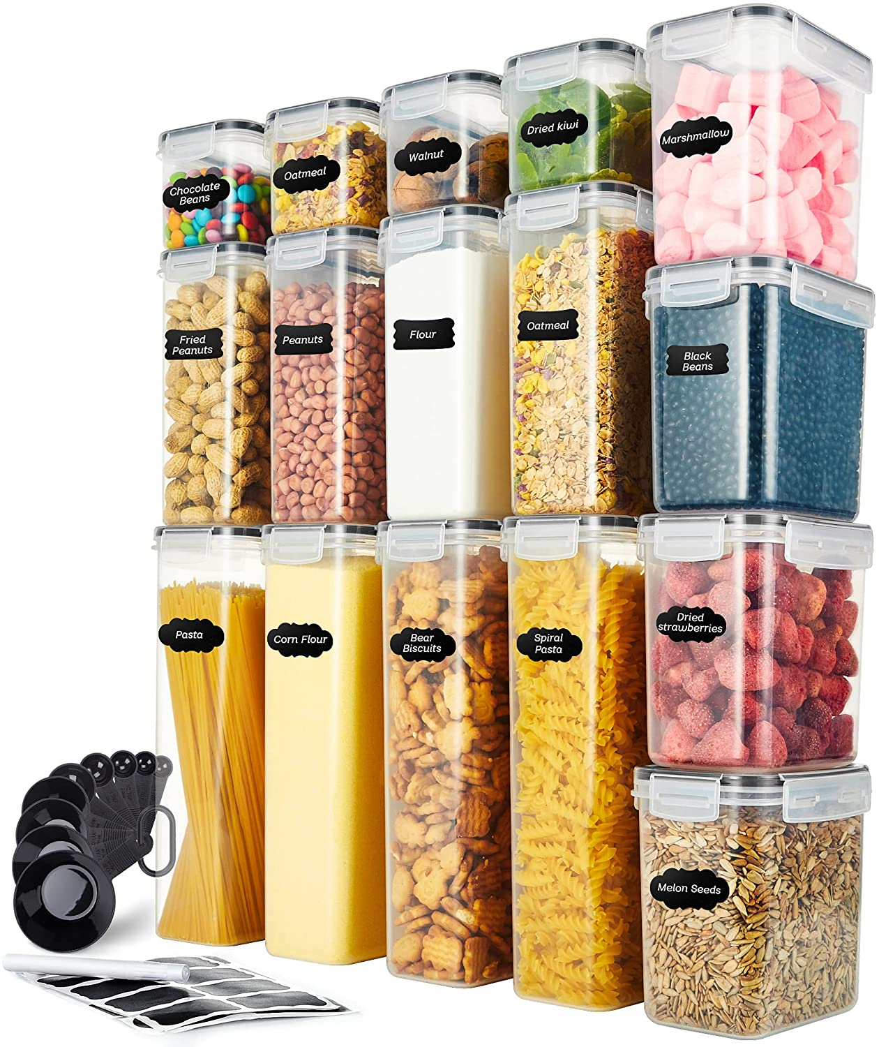 Syntus Food Storage Container Set, 16 Pcs Airtight Plastic Food Canisters with Lids for Kitchen & Pantry Organization (28L), Labels, Marker & Spoon Included