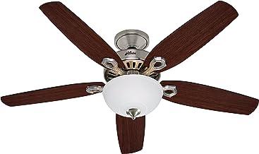 Hunter Fan 50571 Hunter Builder Deluxe Nickel brossé 132cm Ventilateur de plafond avec éclairage, Acier, E14, 65 W, 132 cm