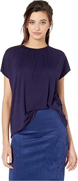 Gathered Neck Drapey Jersey Tee
