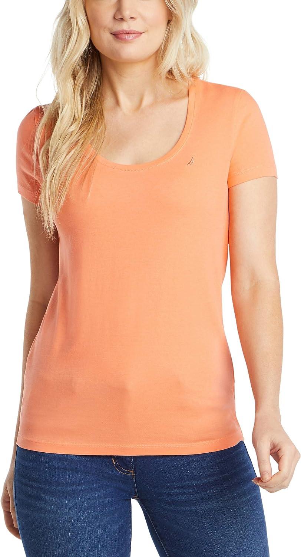 Nautica Women's Easy Comfort Scoop Neck Supersoft 100% Cotton Solid T-Shirt