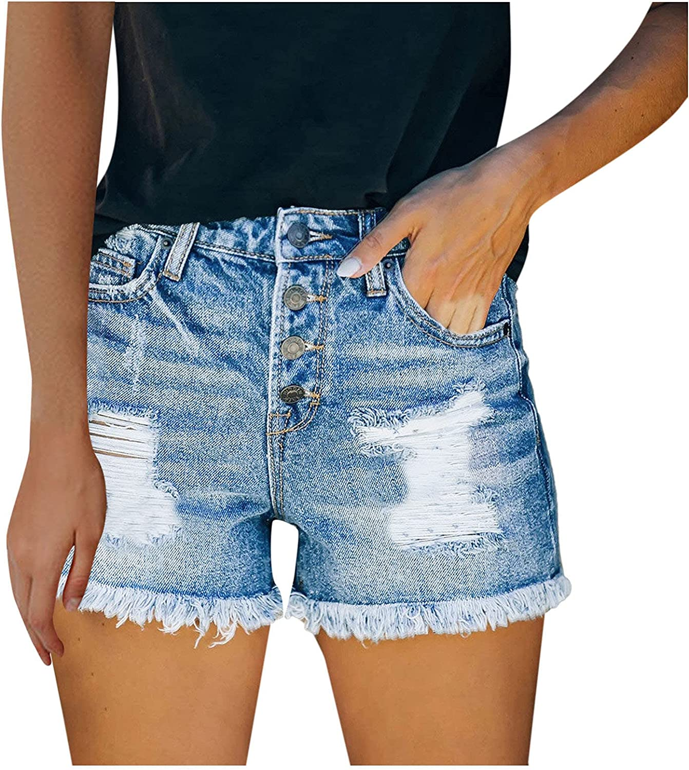 Rubysam Women's High Waisted Rolled Hem Distressed Jeans Ripped Denim Shorts with Pocket