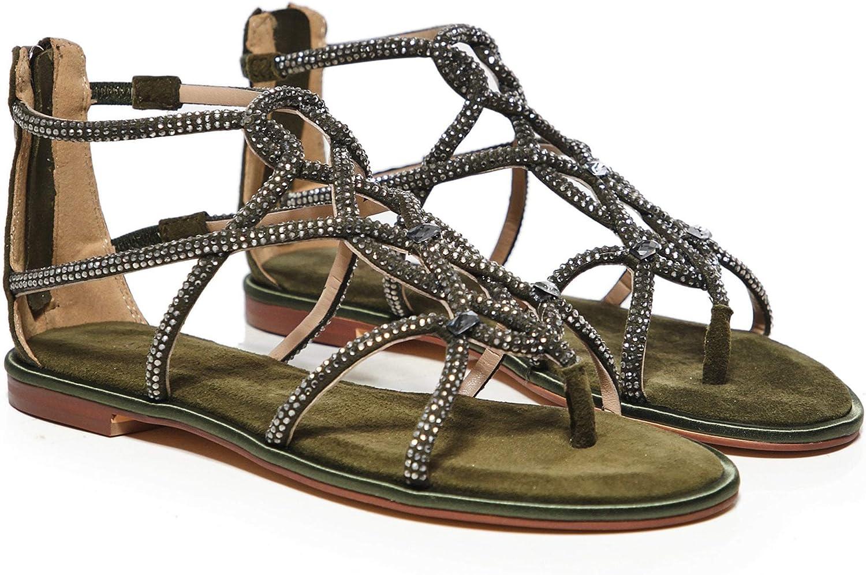 Alma en Pena Women's Suede Diamanté Gladiator Sandals Green