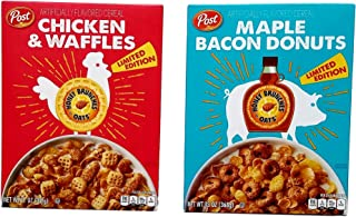Chicken & Waffles (11 Oz) and Maple Bacon Donuts (13 Oz) - Limited Edition Bundle of 2 Post Honey Bunches of Oats Breakfast Cereal