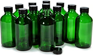 Vivaplex, 12, Green, 4 oz Glass Bottles, with Lids