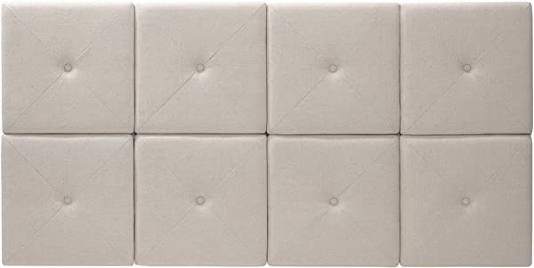 Foremost THT 61013 FB LIN FQ 62 31 Inch Natural Linen With X Seam And Tuft Headboard Tiles Queen 31 Inches