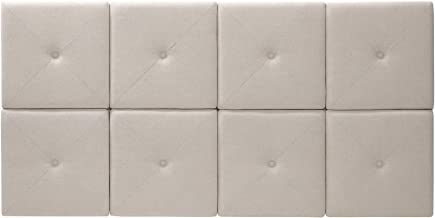 Foremost 62 31-Inch Natural Linen with X Seam and Tuft Headboard Tiles, Queen, 31 inches