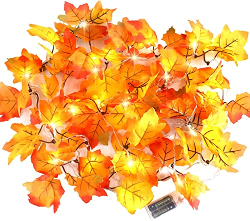 CPPSLEE Fall Decor for Home Thanksgiving Decorations Lighted Leaf Garland - Fall Decorations Thanksgiving Decor Light...
