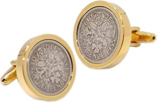 1955 Silver Sixpence Coins Set in a 9ct Gold Plate Setting Mens 63 Years Gift Cuff Links by CUFFLINKS DIRECT