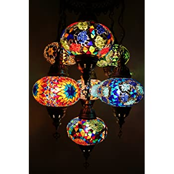Handmade, Authentic, Mosaic Chandelier, Tiffany Style Glass, Moroccan/Ottoman Style Night Lights (Blue and Red, 7 Globes)