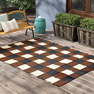 Reversible Mats - Indoor/Outdoor Plastic Straw Rugs, Modern Outdoor Area Rug for Patios Clearance, Outside Mat for RV Camping, Picnic, Beach, Backyard, Deck, Trailer (5' x 6.5')
