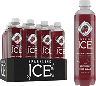 Sparkling ICE, Grape Raspberry Sparkling Water, with Antioxidants & Vitamins, Zero Sugar, 17 Fl Oz Bottles (Pack Of 12)