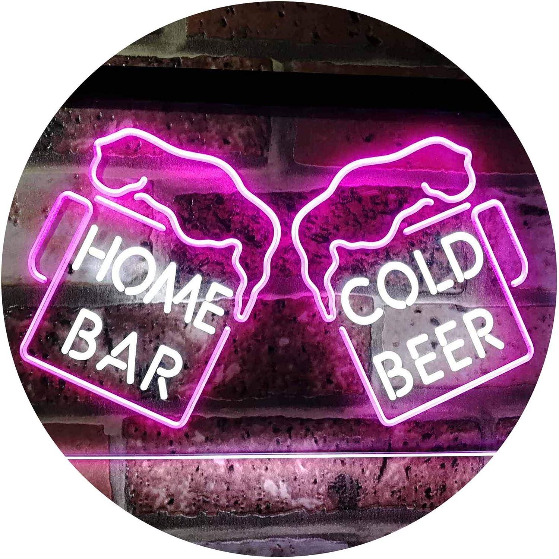 ADVPRO Home Bar Cold Beer Mugs Cheers Dual Farbe LED Barlicht Neonlicht Lichtwerbung Neon Sign Weiß & lila 16  x 12  st6s43-i2348-wp