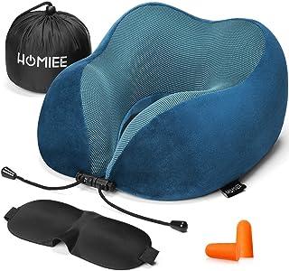 HOMIEE ネックピロー U型 首枕 頚椎症/肩こり/首こり解消対応 旅行 飛行機 新幹線 自宅 オフィス 昼寝などで仮眠用 軽量 耳栓と睡眠アイマスク及び収納袋を付く