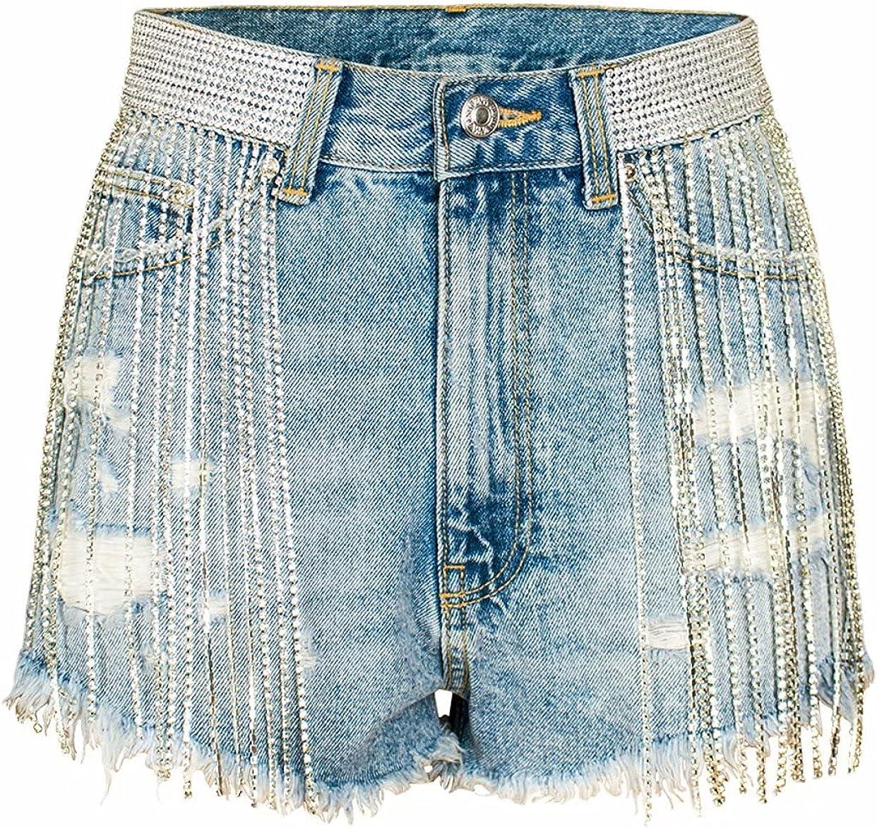 Alilyol Women's High Waist Distressed Tassel Denim Shorts Bling Rhinestone Denim Shorts Crystal Belt Short Jean Summer
