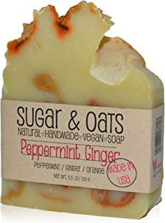 Ginger Peppermint Vegan Soap, Sugar and Oats, Spa Luxury Soap (Refreshing Peppermint Ginger Luxury Soap) Clean, Palm Free/...