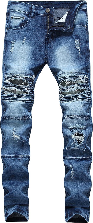 Men's Skinny Slim Fit Moto Discount mail order 5 ☆ popular Ripped Destroyed Jeans Bik Distressed