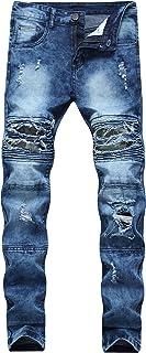 Men's Skinny Slim Fit Moto Jeans Ripped Distressed Destroyed Biker Jeans