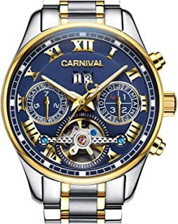 Men's Automatic tourbillon Multifunction Sapphire Gold Stainless Steel Waterproof Blue Dial Watch