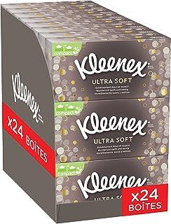 Kleenex Ultrasoft - Boites de Mouchoirs en Papier Ultra Doux - Sensation de soie - Pack de 24