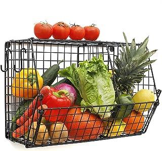 ChasBete Panier de Fruits et Legumes, Panier Metal Decoration Cuisine, Rangement Placard Cuisine Mural Avec Crochets