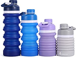 OMAYA Collapsible Sports Water Bottle- Lightweight BPA Free Leak Proof Wide-Neck Design, ice and Lemon. Cute and Great for Hiking, Jogging, Camping, Traveling, Gym and Outdoor Activities.