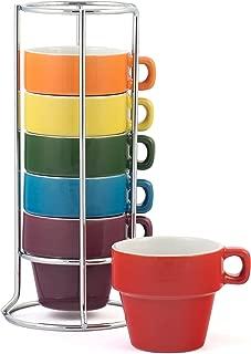 Gypsy Color 3 OZ. Espresso Stacking Coffee Mug Set with Metal Stand, Rainbow Multicolor Hand Glazed Ceramic Stoneware