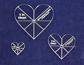 Heart Template 3 Piece Set. 1 Inch,2 Inch,3 Inch - Clear 1/8 Inch Thick w/guidelines