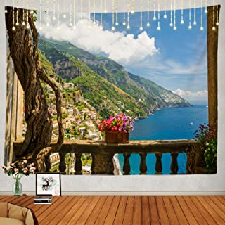 Shrahala Beautiful Tapestry, Positano Amalfi Coast Italy Wall Hanging Large Tapestry Psychedelic Tapestry Decorations Bedroom Living Room Dorm(51.2 x 59.1 Inches, Blue 2)