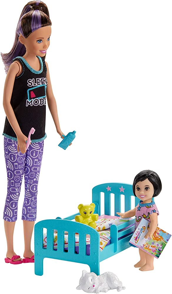 Barbie, skipper babysitter playset nanna, lettino e accessori GHV88