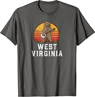Funny West Virginia Grizzly Bear Bluegrass Banjo T-Shirt