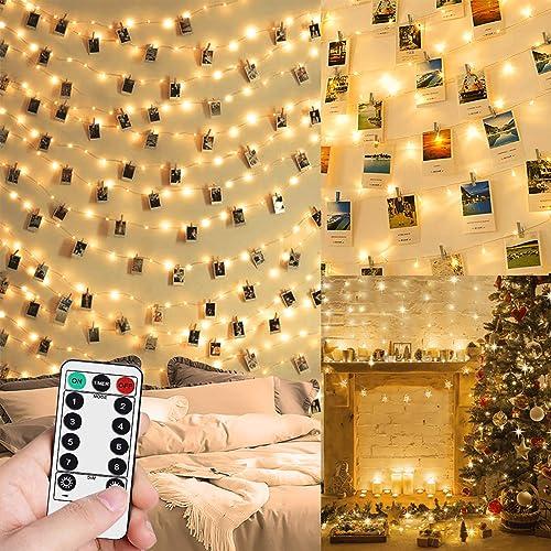 Guirlande Lumineuse Photo, 10M 100LED Guirlande Photo Batterie Alimenté Porte Photos Avec 50 Photo Clips Decoration I...