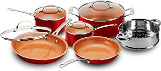 Gotham Steel 10-Piece Kitchen Set with Non-Stick Ti-Cerama Coating by Chef Daniel Green - Includes Skillets, Fry Pans, Stock Pots and Steamer Insert – Red
