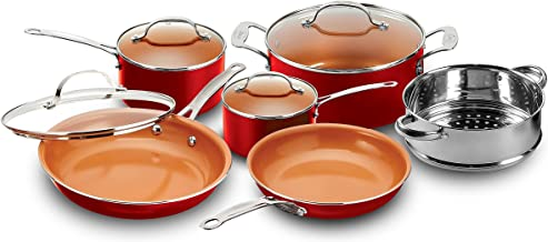 Gotham Steel 10-Piece Kitchen Set with Non-Stick Ti-Cerama Coating by Chef Daniel Green - Includes Skillets, Fry Pans, Sto...