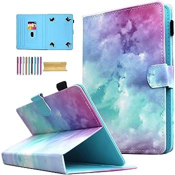 """AMOTIE - Funda universal para tablet de 7"""" (función atril), diseño de nube rosa"""