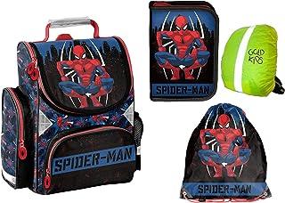 Spiderman Set Schulranzen ergonomischer Ranzen Federmappe Turnbeutel Regenschutz 4 teiliges Set Lizenzartikel