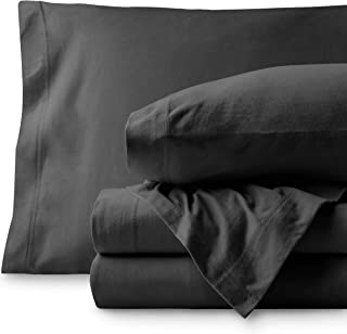 Bare Home Jersey Sheet Set, Ultra Soft, 100% Cotton - Breathable - Deep Pocket (Twin XL, Grey)