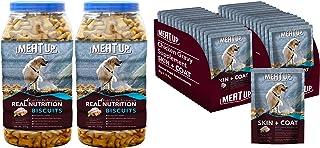 Meat Up Chicken Flavour , Real Chicken Biscuit, Dog Treats -500g Jar ( BOGO) and Chicken Gravy Supplement, Skin+Coat- 80g,...