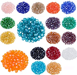 Lot 1800pcs Glass Bicone Beads - LONGWIN Wholesale 4mm Bicone Shaped Crystal Faceted Beads Jewelry Making Supply for DIY Beading Projects, Bracelets, Necklaces, Earrings & Other Jewelries (Color 2)