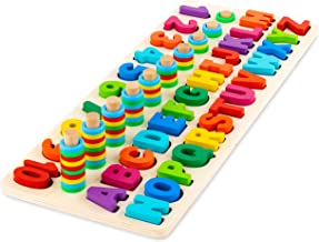 Toy To Enjoy Wooden Alphabet & Numbers Puzzle Toy for Kids – Number 1-10 and ABC Letters Montessori Jigsaw – Learning & Early Educational Toy for Number Counting & Shape Sorting.